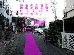 「芳賀医院」横の緩やかな坂の上に「緑色の大きな看板」が見えます。